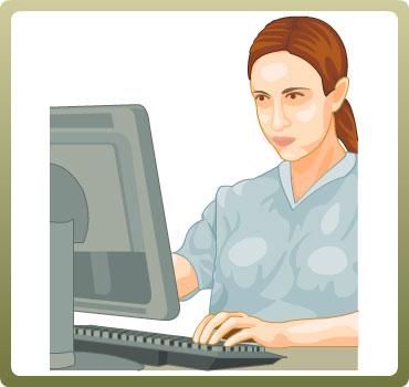 Grafik af kvinde ved en computer