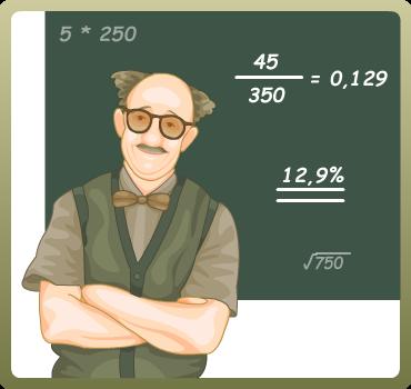 Grafik at matematiklærer ved en tavle