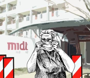 Tegning af sygeplejerske, der påfører sig mundbind