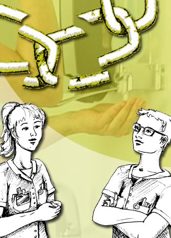 Tegning af to sygeplejersker, der taler sammen